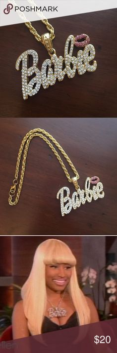 """Seen on Nicki Minaj // Barbie Rhinestone Necklace Rhinestone Barbie Necklace with pink kiss. Very BLINGY! As seen on Nicki Minaj. 20"""" gold chain. Pendant will most likely lay at the top of the chest. Lobster clasp. Make an offer! No trades. Barbie Jewelry Necklaces"""