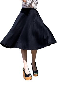 Womens Elastic Waist Midi Long A Line Flare Pleated Small Plus Size Skirt Made in USA >>> Find out more about the great product at the image link.