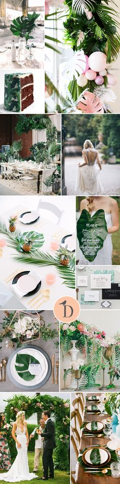 It might not quite be summer yet – but this is one wedding trend to watch out for! Tropical palm leaves make a gorgeously graphic statement. Simple and modern, they make a great way to tie together different elements of … Continued Palm Wedding, Botanical Wedding, Hawaii Wedding, Destination Wedding, Wedding Flowers, Dream Wedding, Wedding Blog, Tropical Bridal Showers, Tropical Party