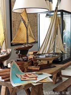 Model sail boats serving as some beauitful nautical decor