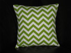Lime GREEN Decorative Pillow COVER 16 CHEVRON print One 16 inch Designer Fabric Throw Pillows - Chartreuse & White zig zag