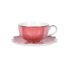 Enjoy your morning espresso in style with this Royal Pip espresso cup & saucer from Pip Studio. Delicately crafted from porcelain, it features a mix of red & pink patterns enhanced with stunning go...