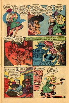 """Pre-dating their EC work, this rough 'n' tumble Western page from Wally Wood and Joe Orlando...""""Tex Gordon"""" Trojan pubs.,1951 (click to ENLARGE)"""
