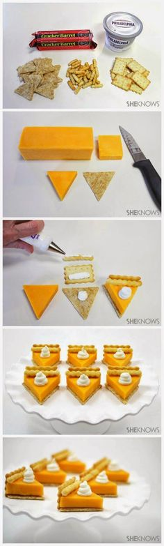 Omg, cutest thing ever!! Pumpkin Pie Cheese Appetizer ~ Surprise your guests with a savory appetizer that looks just like a piece of pumpkin pie... It's the perfect fall party finger food.