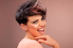 35+ Types Of Asymmetrical Pixie To Consider | LoveHairStyles.com Curly Pixie Hairstyles, Haircuts For Fine Hair, Curly Hair Styles, Very Short Bangs, Very Long Hair, Short Grey Hair, Short Hair Cuts, Long Asymmetrical Pixie, Asymmetrical Haircuts