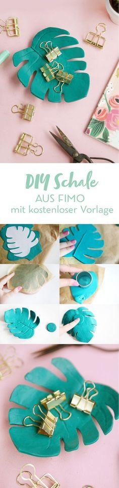 Kreative DIY-Idee zum Selbermachen: Hübsche DIY Schale in Monstera Form basteln | mit DIY Anleitung und kostenloser Vorlage