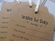 Set of 25 Baby Shower Wishing Tree Tags - Wishes for Baby Neutral Kraft Paper Vintage Rustic via Etsy