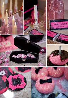 Pink & Black can be spooky sophisticated.  Black spiders, black coffins full of pink candy, and, of course, pink pumpkins.