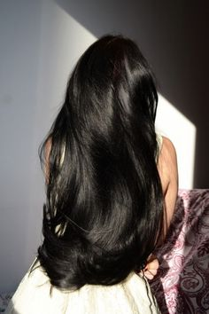 Beautiful Long Hair, Gorgeous Hair, Curly Hair Styles, Natural Hair Styles, Long Black Hair, Girls With Long Hair, Dyed Black Hair, Long Asian Hair, White Streak In Hair