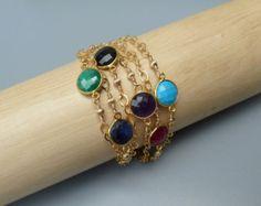 Piedras preciosas apilamiento pulsera por suzannenoeldesigns