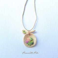 Succulent round arrangement, polymer clay necklace by BernadetteBeta on Etsy