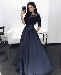 Dark Navy Blue Satin Beaded Prom Dresses Long Sleeves A-line Sexy Party Dresses  Evening Dresses Formal Gowns with Pockets for Women MT20189149 c319062bc