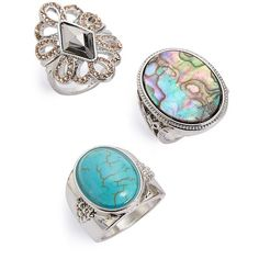 Topshop Filigree & Cabochon Rings ($22) ❤ liked on Polyvore featuring jewelry, rings, silver multi, sports rings, chunky rings, chunky jewelry, filigree band ring and cabochon jewelry