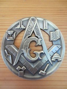 Masonic Auto Car Emblem Compass And Square Tools hollow out 3D 3'' antique design