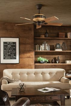 """With weathered iron housing and lodge pine blades, the 52"""" Great Lodge ceiling fan by Monte Carlo turns any room into a rustic retreat. The look of rough hewn pine logs and pine cone accents bring the Mountain Luxe style to life. Designed for medium to large-sized rooms such a study, home office, bedroom or living room."""