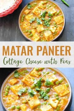 Matar paneer is a magic combo of soft Indian cottage cheese and green peas simmered in an onion-tomato gravy. An easy recipe that's perfect for brunch! Indian Paneer Recipes, Easy Indian Recipes, Ethnic Recipes, High Protein Vegetarian Recipes, Healthy Recipes, Veg Recipes, Yummy Recipes, Brunch Recipes, Gourmet Recipes