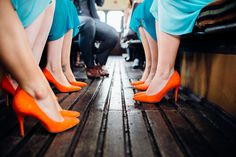 Orange Bridesmaid Shoes | Sottero and Midgley Bridal Gown | Festival Wedding | Tipi Reception | Teal & Burnt Orange Colour Scheme | Marianne Chua Photography | http://www.rockmywedding.co.uk/nina-dave/