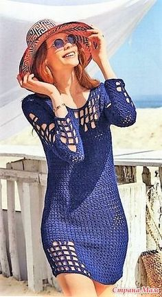 Hermoso vestido playero a crochet fácil de tejer paso a paso con gráfico - Beautiful crochet beach dress easy step by step with graphic Débardeurs Au Crochet, Pull Crochet, Mode Crochet, Crochet Tunic, Crochet Woman, Crochet Clothes, Crochet Slippers, Filet Crochet, Crochet Beach Dress