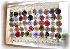 ヨーヨーキルト*カフェカーテン*ぽんぽんの作り方 パッチワーク 編み物・手芸・ソーイング アトリエ 手芸レシピ16,000件!みんなで作る手芸やハンドメイド作品、雑貨の作り方ポータル