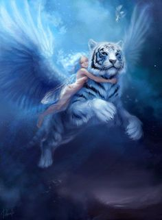 My Enchantments - fairy fies a white tiger with wings just enchanting