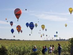 Aug. 21, 2012: Hot air balloons float up near Battle Creek, Mich., during the 20th World Hot Air Balloon Championships. The event features top pilots from around the world & runs through Aug. 25. (© Lisa Wiltse/Corbis Images)