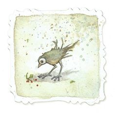 "https://flic.kr/p/6Mwdaj | LIttle Green Bird | Part of my online solo show, beginning August 15, 2009 at <a href=""http://www.88point5.com"" rel=""nofollow"">www.88point5.com</a>  Watercolor, pencil and gouache on paper Approx. 3"" x 3"" Unframed, with hand-cut decorative edge"