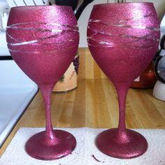 DIY Glitter Wine Glasses :) She loved them!!