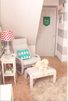 Chevron print chair  http://www.ontobaby.com/2012/12/colorful-and-modern-circus-themed-nursery/