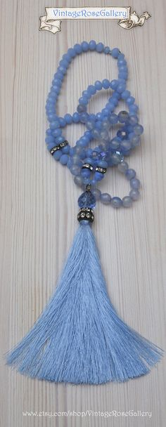 Sky Blue Silk Tassel Necklace, #VintageRoseGallery #etsy Baby Blue Agate Gemstones Necklace by VintageRoseGallery