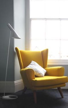 The Louis Poulsen AJ Floor Lamp looks perfect paired with this zesty yellow chair. Purchase now at: http://www.nest.co.uk/product/louis-poulsen-aj-floor-lamp
