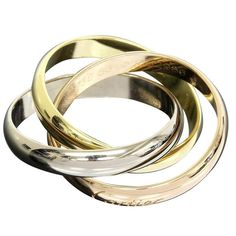 Cartier 18k Yellow/White/Pink Gold Trinity Ring Us Size 6.5