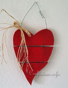 Wood Crafts for Valentine's Day - Country Red Wooden Heart                                                                                                                                                                                 More