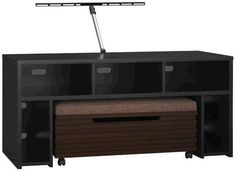 """Bush VS80950-03 Roam 58"""" TV Stand with Storage Bench in Black, TV stand and bench have stylish black finish, Fits 50"""" flat-panel TVs up to 117 lbs, TV stand has 5 open component areas - three horizontal for DVD players and other components and two vertical for gaming units, Side storage compartments with spring-loaded media retainers for DVD and video game storage inside bench, 26.625"""" H x 58"""" W x 22.125"""" D Dimensions (VS80950 03 VS80950 03 VS 80950 VS80950)"""