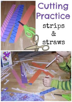 Fine motor work for kids with scissors. Kids LOVE cutting straws and watching them pop!
