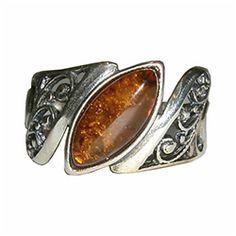 Marquise Cut Honey Amber Ring