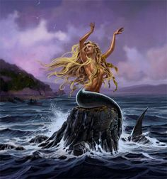 Pincoya- Chilean myth: a female water spirit that has long blonde hair and has incomparable beauty. If she dances facing the sea then there will be an abundance of fish. If she dances with her back towards the sea, seafood would be scarce.