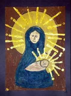 4th Grade - Madonna and Christ  - oil pastels on butcher paper, watered down black tempera painted over drawing, gold acrylic painted using cardboard and Q-Tips.  Borrowed from the fabulous http://www.thatartistwoman.org/