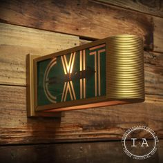 Vintage Exit Sign Emergency Illuminated Industrial Theater Movie Frosted Glass