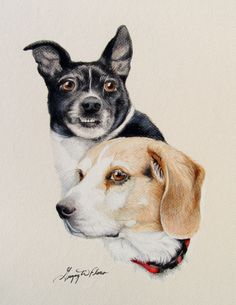 """""""Lady and the Tramp"""" - Commissioned by a local customer in Cheyenne. One of 10 to make it into the """"1000 Dog Portraits"""" book."""