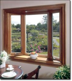 Vinyl bay window creates depth and room and has the appearance of real wood, also available in other colors Window Grill Design Modern, Window Design, Bay Window Living Room, Liberty Home, Fixer Upper House, Window Styles, Modern House Plans, Windows And Doors, Bay Windows