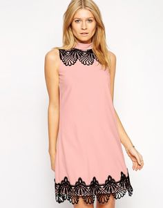 Paperdolls Shift Dress with Scalloped Lace Trim