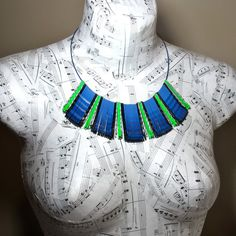 Seattle #Seahawks Statement Necklace in Blue Ombre by BluKatDesign