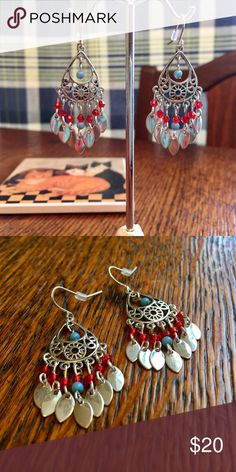 Pretty Little Silver Red Blue Danglers So sweet and so pretty. Shiny stainless steel with red and blue beads. These little beauties hang only 3/4 inch from the top of the ear wire to the the bottom of the center leaf. Would look so cute with short or long hair! Jewelry Earrings