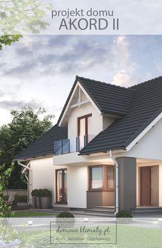 """""""Akord II"""" - projekt domu z poddaszem użytkowym przeznaczony na wąską, bo do 16m… Attic, Bungalow, Sweet Home, Outdoor Decor, Home Decor, Arquitetura, World, Houses, Loft Room"""