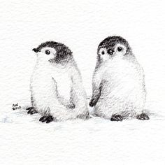 2 Little Penguin Chicks - Original Pencil Drawing