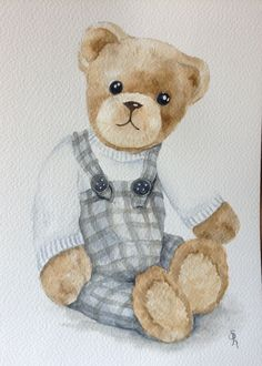 Teddy Bear Drawing Art Bears Digi Stamps Watercolor Coloring Pages Ideas Clip Etchings How To Make Crafts Knives