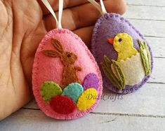 Felt Easter decor, felt eggs with chicken and bunny, felt Easter ornaments, Easter Bunny, Felt Easter decorations / set of 2