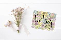 Personalized Stationery | Notecard Set | Stationary | Flower Stationary | Bright Notes | Personalized Thank You Notes | For Women |For Girls by ELouiseDesigns on Etsy
