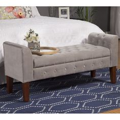 HomePop Dove Grey Velvet Settee-style Storage Bench | Overstock.com Shopping - The Best Deals on Benches