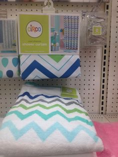 Circo     Chevron Bath Towel   True White   Target Mobile   Bathroom     Blue green chevron towels and shower curtain for guest bath  Target curtain   20 towels  10